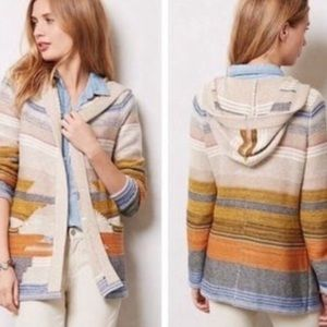Anthro Sparrow Aztec Hooded Open Front Cardigan